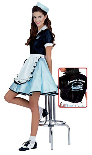 Diner Waitress Costume (Adult Car Hop Girl 50s Costume, One)