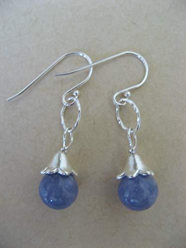 (Periwinkle Angelite Gemstone Blossom Cap Sterling Silver Earrings Angel Stone Artisan Jewelry)