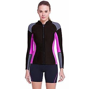 DIVE & SAIL Women's 3/2 mm Wetsuits Jacket Long Sleeve Neoprene Wetsuit Top (Grey / Purple, 2XL = US 10)
