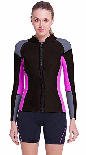 DIVE & SAIL Women's 3/2 mm Wetsuits Jacket Long Sleeve Neoprene Wetsuit Top (Grey / Purple, 2XL = US - Wetsuits Top 10