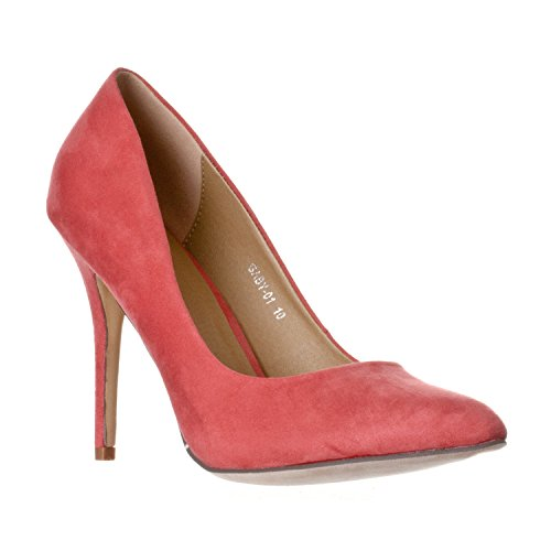 The Color Coral (Riverberry Women's Gaby Pointed, Closed Toe Stiletto Pump Heels, Coral Pink Suede, 8)