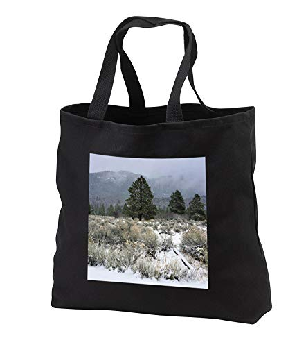 Jos Fauxtographee- Pine Valley Dusted with Snow - A misty and snowy say in Pine Valley Utah with trees - Tote Bags - Black Tote Bag JUMBO 20w x 15h x 5d (tb_295712_3)
