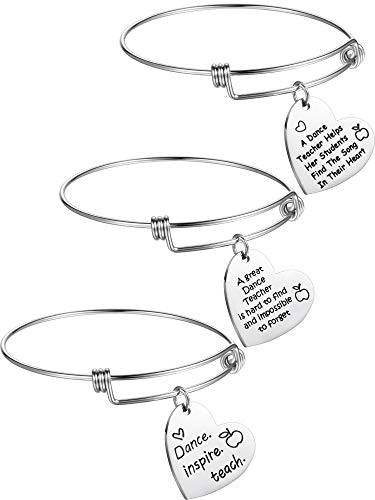 - Zhanmai 3 Pieces Dance Teacher Jewelry Bracelet Bangle Gift Expandable Engraved Steel Bangle Bracelet for Women Dance Teacher (Style B)