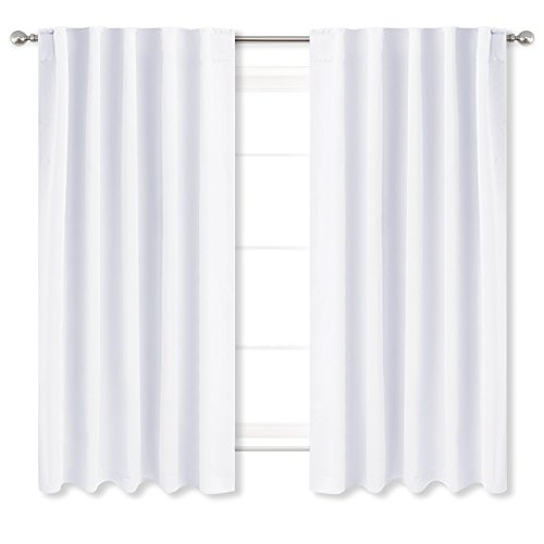 NICETOWN Window Curtains Drape Panels - (White Color) W42 x L45, Double Panels, Modern Decoration Window Treatment Draperies for Kitchen