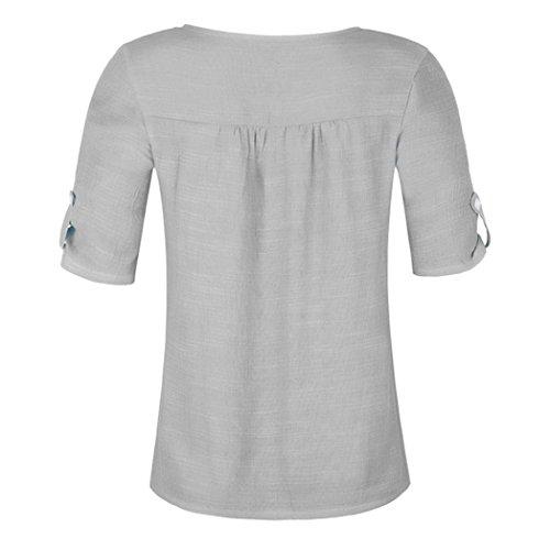 Casual Manches Couleur Bouton Ruffled Blouse en Mousseline Courtes Stitch Unie Gris Chemise Femme Bringbring qtXwAZP