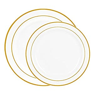 60 heavyweight white with gold rim plastic plates 30 dinner plates and 30 salad plates by select settings