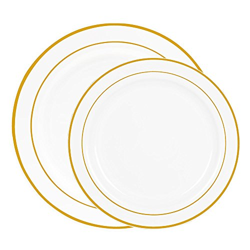 Heavy Duty White with Gold Rim Plastic Plates