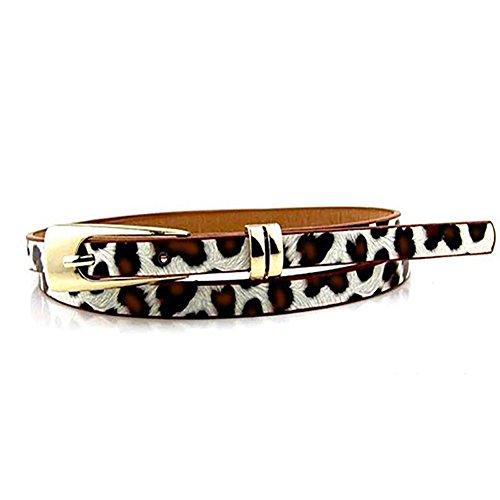 Academyus Elegant Womens Leather Buckle Skinny Belt Adjustable Thin Waistband Sash -Leopard