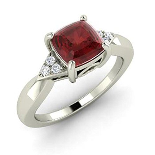 DreamJewels 1.25 ct Cushion Cut Synthetic Red Garnet CZ 14k White Gold Plated Alloy Engagement Wedding Ring Free Size (Cushion Cut Garnet Fashion Ring)