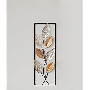 """New All American Collection Flower and Leaves Aluminum/ Metal Wall Decor with Frame 12""""x36"""" (Orange Leaves)"""