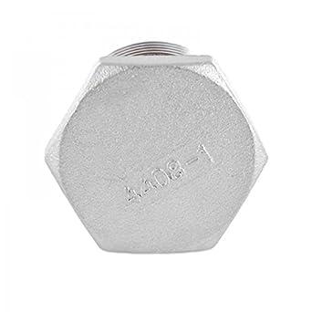 Tap/ón con cabeza hexagonal con racor de rosca fabricado en acero inoxidable V4A