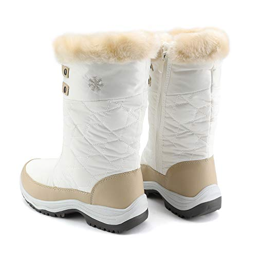 DREAM PAIRS Women's Warm Faux Fur Lined Mid Calf Winter Snow Boots