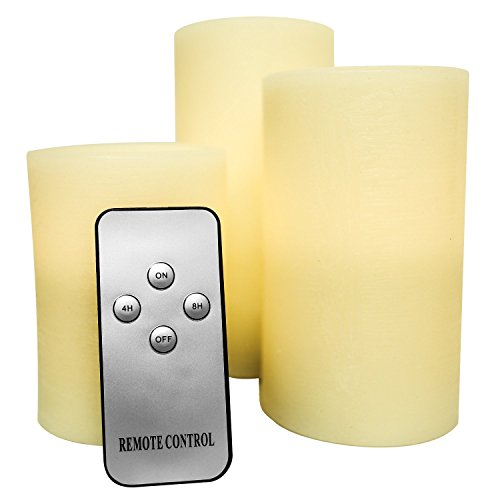 Genuine Wax Flameless Candle Set - LED Candle Set of 3 Pillars - Auto Timer & Remote Control - Battery Operated by Northwoods Candle Company