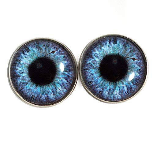 25mm Sew On Purple and Blue Clockface Steampunk Victorian Fantasy Glass Eyes Shank Buttons with Loops - for Stuffed Animals, Plushie Toys, Art Dolls, Jewelry Making, Taxidermy, and More