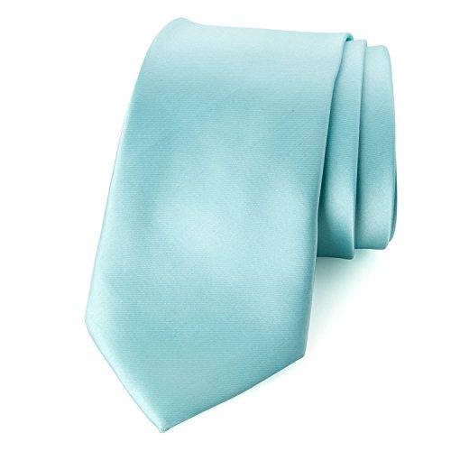 Spring Notion Men's Solid Color Satin Microfiber Tie, Skinny Aqua