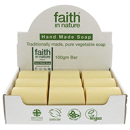 Faith in Nature All-Natural Bar Soap, Neem (100 gram Bars, Bulk Pack of 18); Pure Hand and Body Soap Handmade w/Citrus Aromatherapy and Essential Oils, Vegan and ()