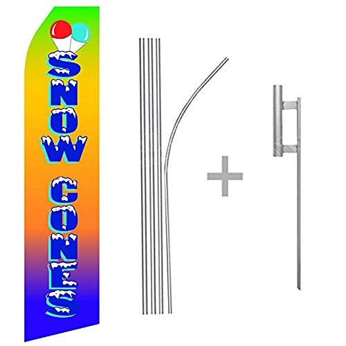 wall26 Snow Cones Econo Flag | 16ft Aluminum Advertising Swooper Flag Kit with - Hardware Cone