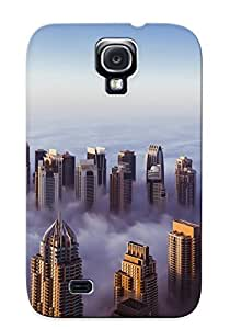 Galaxy S4 Case Cover - Slim Fit Tpu Protector Shock Absorbent Case (buildings Skyscrapers Fog Mist )