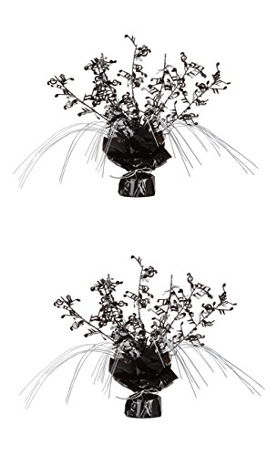 Beistle S57921AZ2, 2 Piece Musical Notes Gleam 'N Spray Centerpieces, 11'' (Black/Silver)]()
