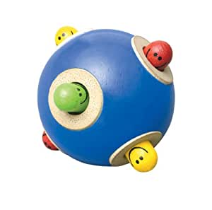 Wonderworld Peek-A-Boo Ball Blue Interactive Wooden Baby Toy - Small For Little Fingers