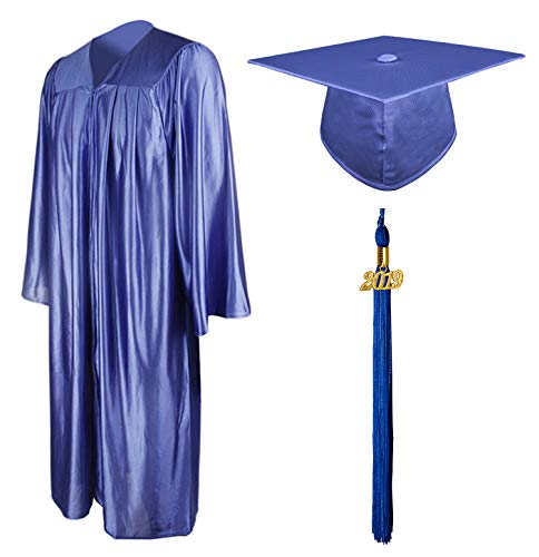 - Graduationmall Shiny Graduation Gown Cap Tassel Set 2019 For High School Royal Blue 48(5'3