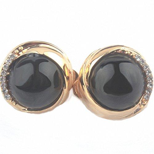 (Womens Opal Crystal Rhinestone Trendy Plant Brincos Brinco Clips Earring Opal Ear Clip No Hole Black)