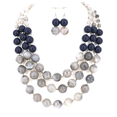 COMELYJEWEL Multi Layer Mix Color Chain Strand Beaded Statement Necklace for Women (Blue x - Strand Multi Necklace Charm