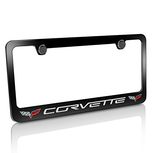 (Chevrolet Corvette C6 Dual Logo Black Metal License Plate Frame)