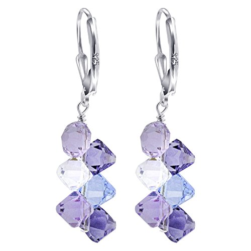ing Silver Lavender Clear and Tanzanite Color Swarovski Elements Crystal Handmade Cluster Style Leverback Drop Earrings ()