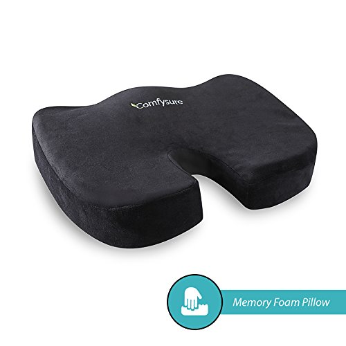 (Memory Foam Seat Cushion with Removable Microfiber Cover - Coccyx, Tailbone, Sciatica, Lower Back Support and Pain Relief - Fits Most Office, Desk, Computer Chairs and Car Seats - by ComfySure)