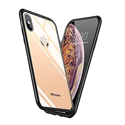 new styles 3ca18 c1f43 Meidom iPhone Xs Max Case with Air Cushion Technology and Anti-Fall,Full  Protective Glass Cover Case for iPhone Xs Max-Glass Black