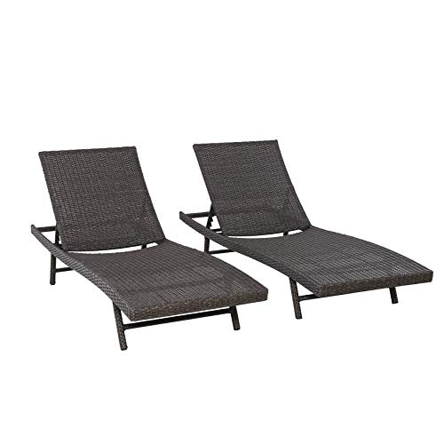 AmazonBasics All Weather Adjustable Outdoor Patio Pool Faux Wicker Chaise Lounge Chairs - 2-pack, Dark Brown