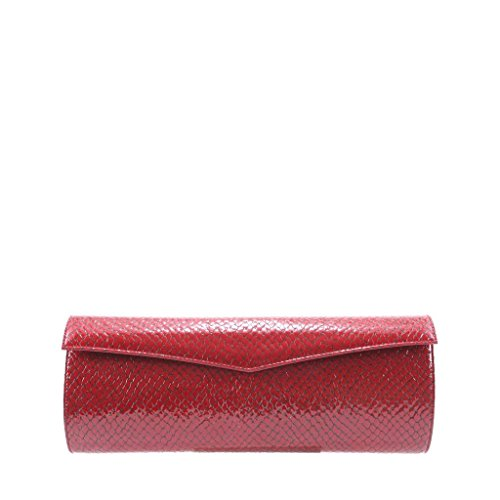Women Elisabeth Burgundy Leather Evening GION Patent Python Clutch Bag effect Y5xRnw