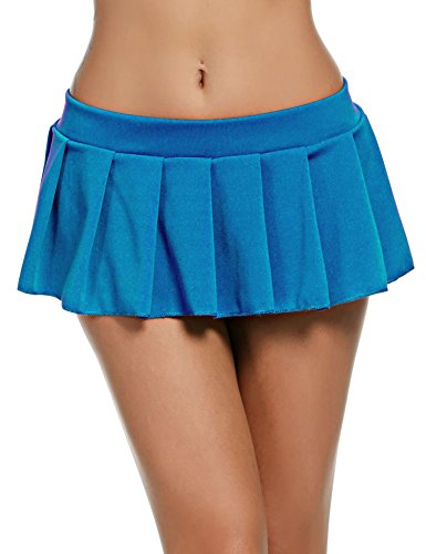 Avidlove Sexy Role Play Pleated Solid Mini Skirt Lingerie Sleepwear (Small, Blue) (Sexy Blue Pleated Skirt)