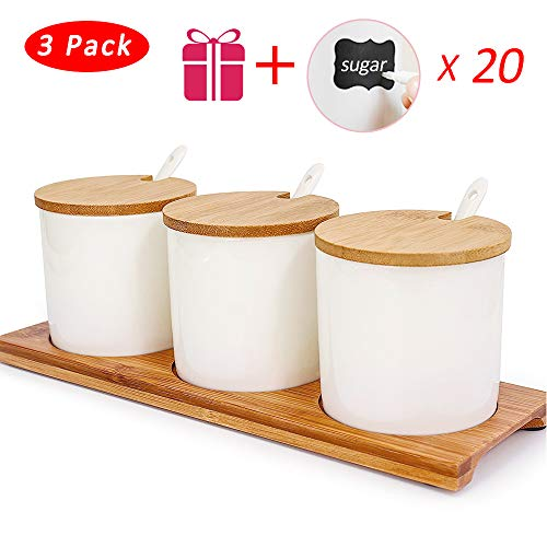 Sugar Bowl with Lid,Vermida Set of 3 Ceramic Condiment Jar with Lids and Spoon,8oz Porcelain Condiment Pot with Lid and Bamboo Base,Ceramic Spice Bowl with Spoon for Sugar,Coffee,Tea,Spice ()