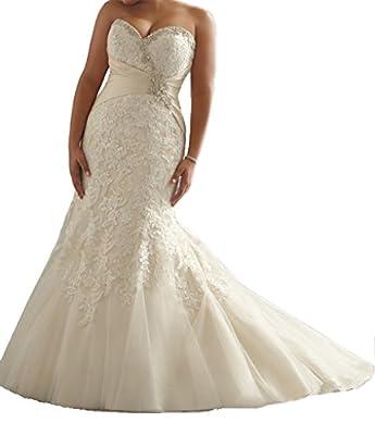Cecelia's Veil Women's Graceful Sweetheart Mermaid Plus Size Lace Wedding Dress