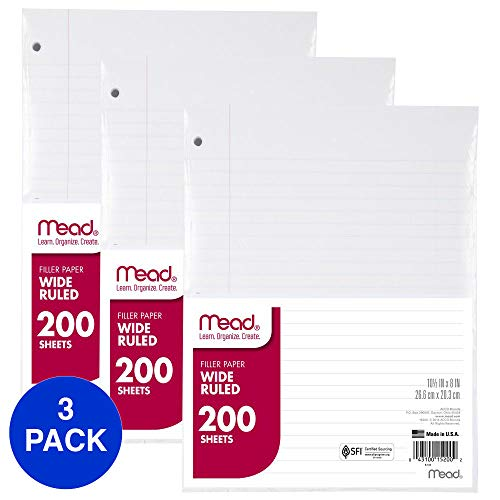 Mead Loose Leaf Paper, Filler Paper, Wide Ruled, 200 Sheets, 10-1/2