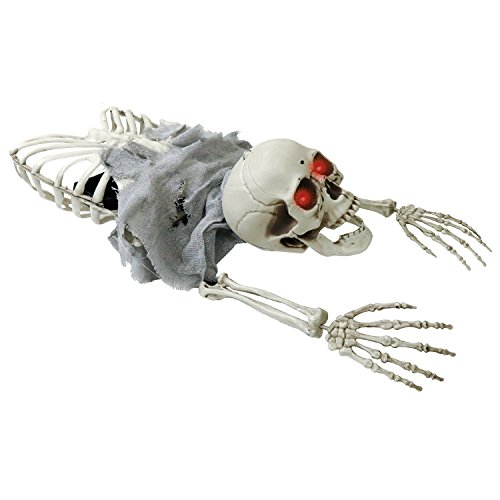 Halloween Haunters Animated Crawling Skeleton Zombie Skull Torso Groundbreaker with Moving Body LED Eyes Prop Decoration - Arms, Legs, Chest Bones- Haunted House Graveyard Tombstone Display -