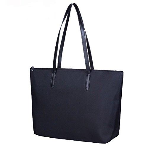 Lecxci Waterproof & Anti-wrinkle Large Oxford Nylon Tote Bag Shoulder Bag for Women Black