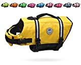 Vivaglory Ripstop & Reflective Dog Life Jacket, Life Vests with Enhanced Buoyancy & Rescue Handle for Swimming, Yellow, Medium