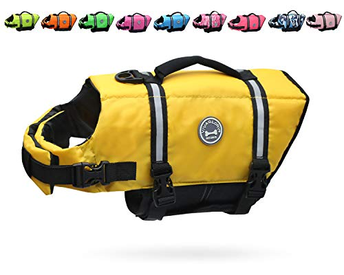 Puppy Life Jackets - Vivaglory Dog Life Jacket Size Adjustable Dog Lifesaver Safety Reflective Vest Pet Life Preserver, Yellow, Extra Small