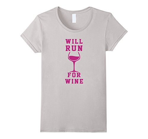 Women's Will Run For Wine Funny Women's Running T-Shirt Medium Silver (Wine And Running compare prices)