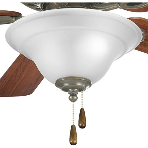 Progress Lighting P2628-20 2-Light Fan Kit with Etched Glass Bowl Quick-Connect Wiring, Antique Bronze ()