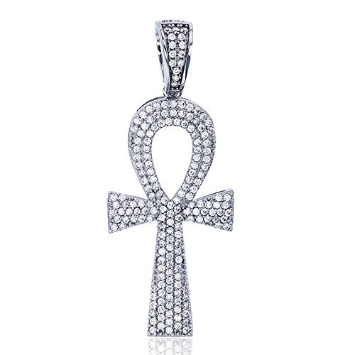 Decadence Sterling Silver Rhodium Egyptian Ankh Cross Symbol of Life Dangling Pendant