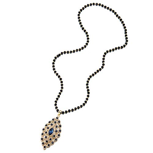 iMECTALII Statement Necklace Blue Crystal Rhinestone Cluster Marquise Dangle Pendant Long Black Beads Chain ()