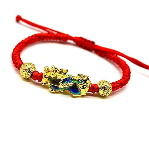 Feng Shui The Best Red String Bracelet with Color Changed Pi Xiu/Pi Yao and Carved Mantra Golden Bead Attract Wealth and Good Luck
