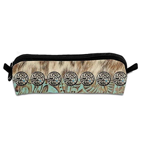 Rustic Brown Teal Western Country Tooled Leather Pen Pencil Case Double Zipper Makeup Cosmetic Pouch Case Travel Bag Coin Purse