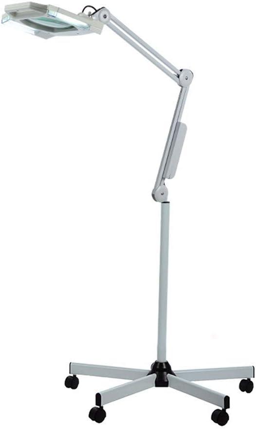 拡大フロアスタンドランプ5X LED拡大鏡美容フェイシャルW/ライト、ローリングフロアスタンドサロン用美容ホイールマニキュアタトゥースキンケアクラフトジュエリー