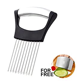 Best Utensils Onion Holder For Slicing Tomato Lemon Slicer Holder Vegetable Potato Cutter Slicer Meat Tenderiser Stainless Steel Cutting Kitchen Gadget 150 ✅ A MUST HAVE IN YOUR KITCHEN: Meat tenderiser, Tomato slicer, Potato & Onion holder, it could be so many roles in your funny kitchen, This clever and multi-purpose kitchen gadget allows you to chop uniform slices of onion without having to ever touch it. ✅ SHARP PRONGS: Ten Ultra-sharp stainless steel prongs also could help you to hold even the hardest vegetables and fruits, perfect for making quick meals from healthy veggies or fruits like apples, onions, carrots, zucchinis, cucumbers, cabbages, beetroots, turnips, rutabagas, cucumbers, radishes, potatoes, sweet potatoes, squashes, and more. ✅ INNOVATION AND REFINEMENT: ANY TIME ANY VEGGIES our onion holder is stylish elegance and effortless. 100% high quality & rust-resistant 18/8 stainless steel, Equipped with sharp prongs and reinforced plastic body ensure the safety. Holds the onion steady and guides your knife for even slices. Experience safe and comfortable food preparation.