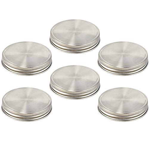 6 Stainless Steel Lids for Wide Mouth Mason Jars + 12 Silicone Seals. Heavy Duty Reusable Replacement for Canning Metal Lids & Plastic Caps. BPA-free, PVC-free, Vinyl-free. Liquid & Dry Food Storage